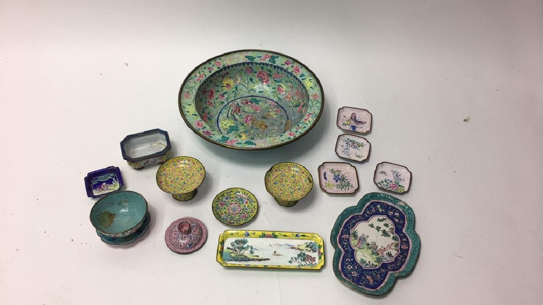 GROUPING OF CHINESE METAL BOWLS ETC