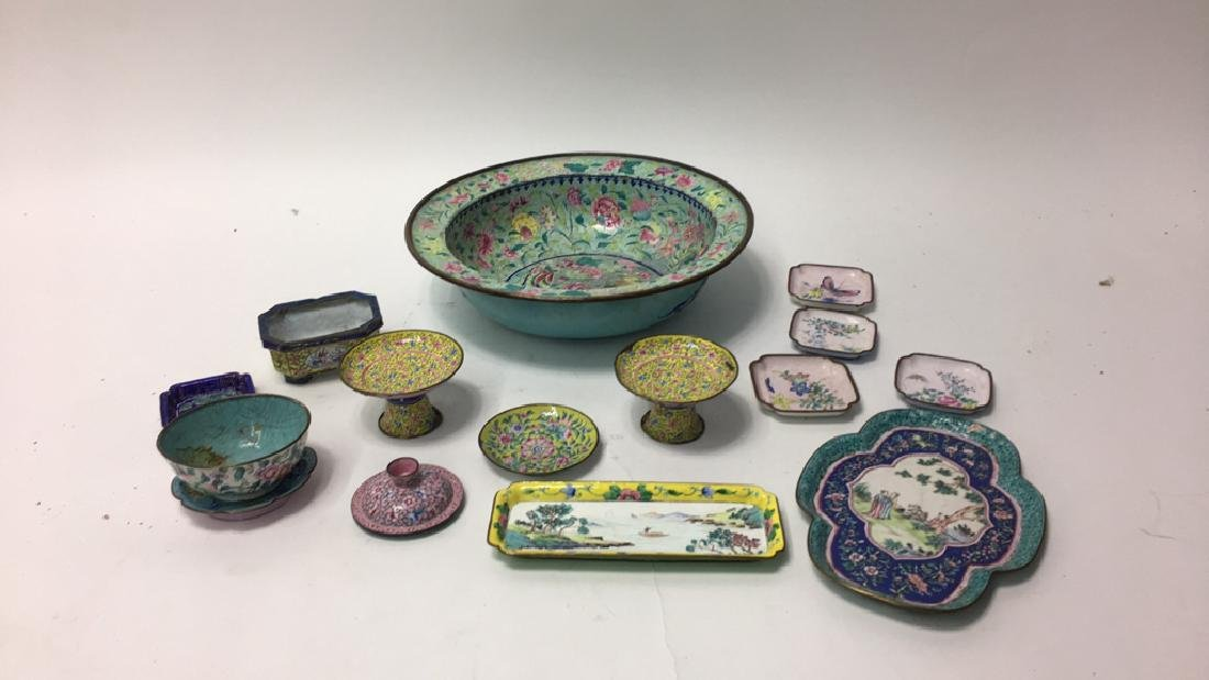 GROUPING OF CHINESE METAL BOWLS ETC - 2