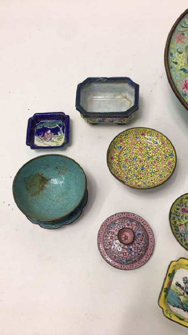 GROUPING OF CHINESE METAL BOWLS ETC - 5
