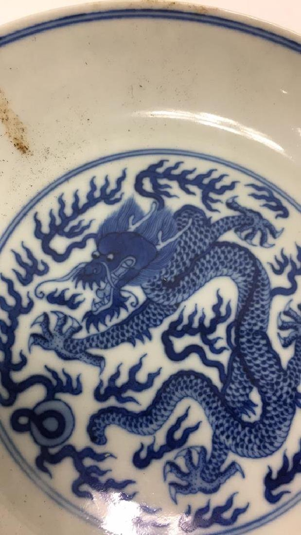 CHINESE BLUE & WHITE PORCELAIN DRAGON DISH - 3