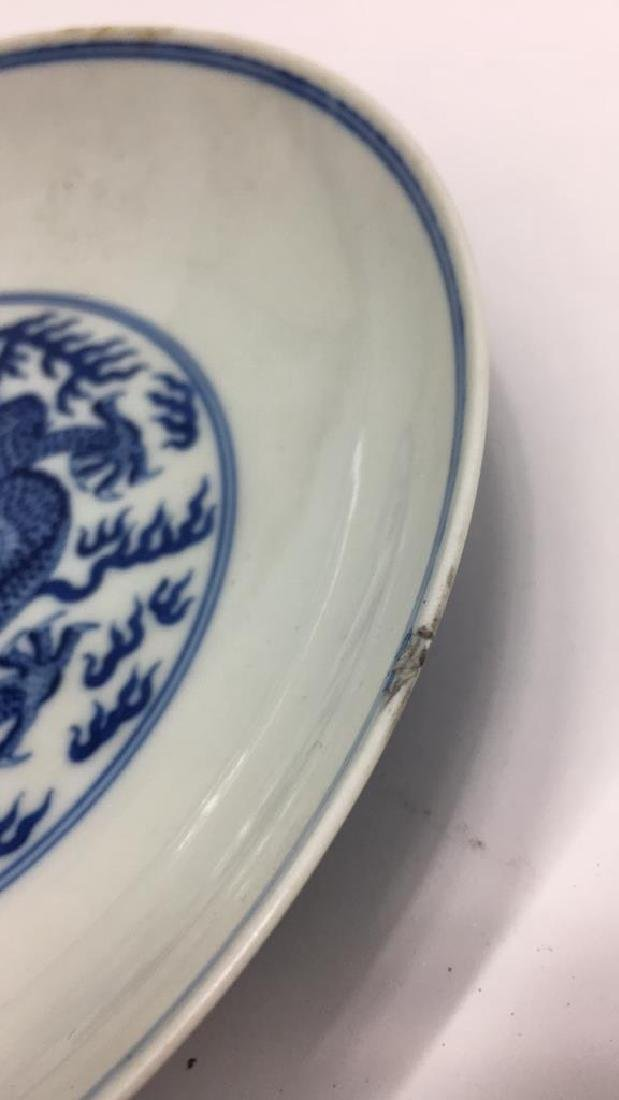 CHINESE BLUE & WHITE PORCELAIN DRAGON DISH - 5