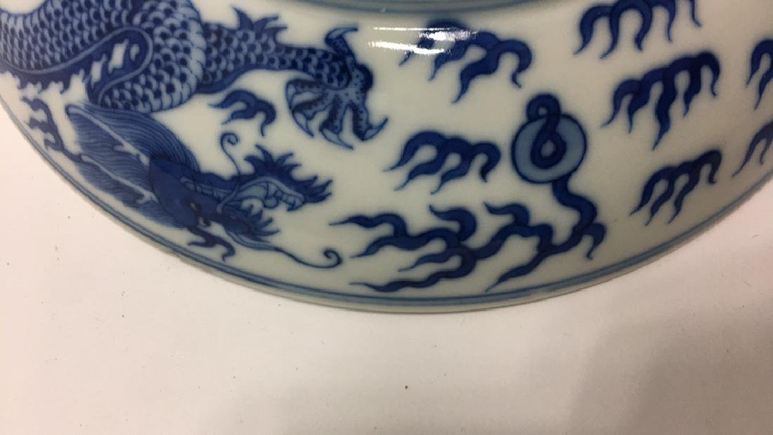 CHINESE BLUE & WHITE PORCELAIN DRAGON DISH - 9