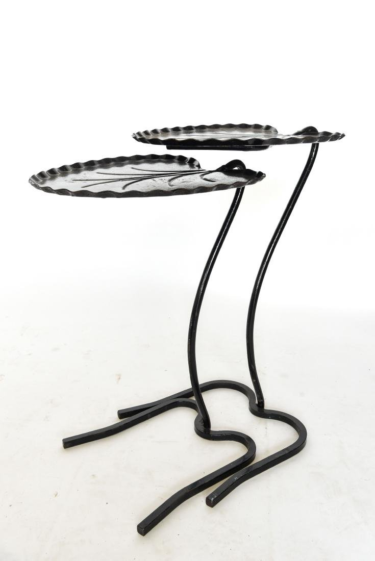 (2) SALTERINI LILY PAD WROUGHT IRON TABLES