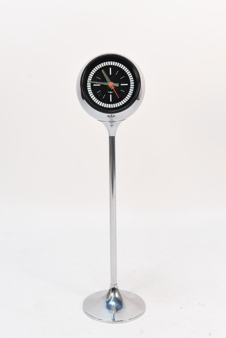 HOWARD MILLER CHROME PEDESTAL ORB CLOCK
