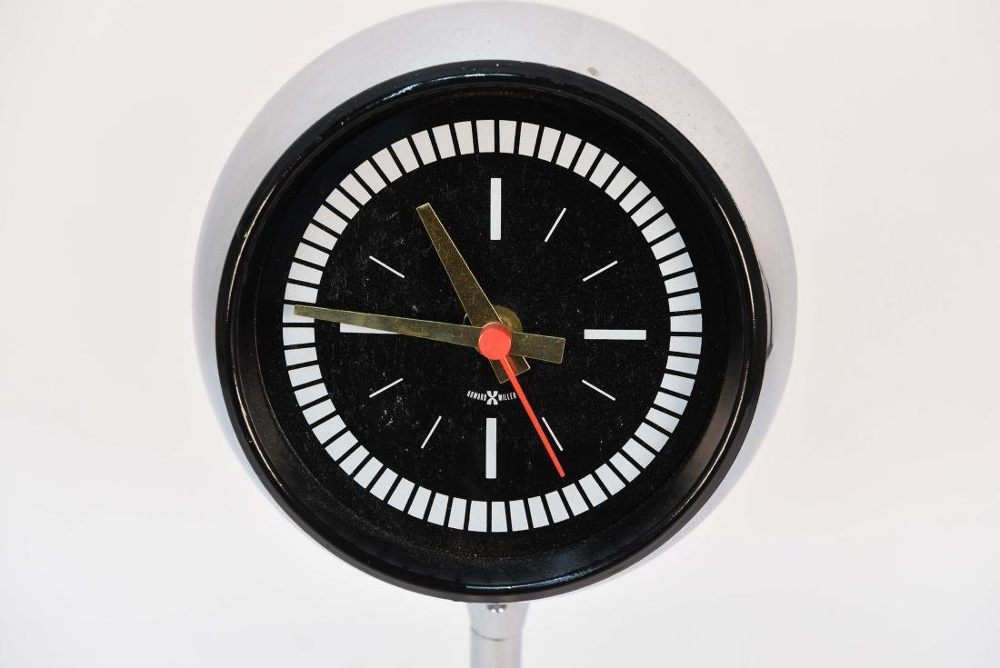 HOWARD MILLER CHROME PEDESTAL ORB CLOCK - 2