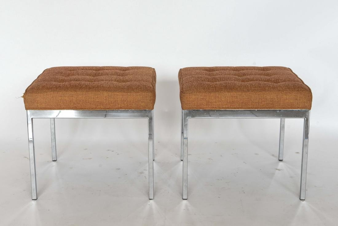 PAIR OF CHROME UPHOLSTERED BENCHES STOOLS