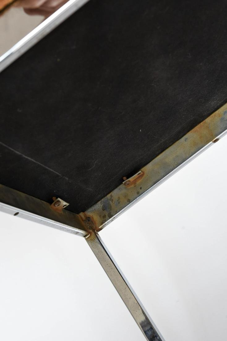 PAIR OF CHROME UPHOLSTERED BENCHES STOOLS - 7