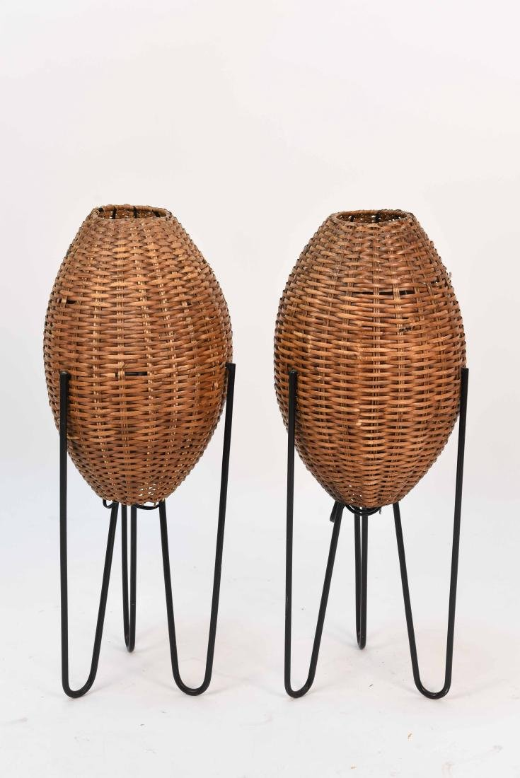 PAIR OF WICKER & HAIRPIN IRON LEG LAMPS