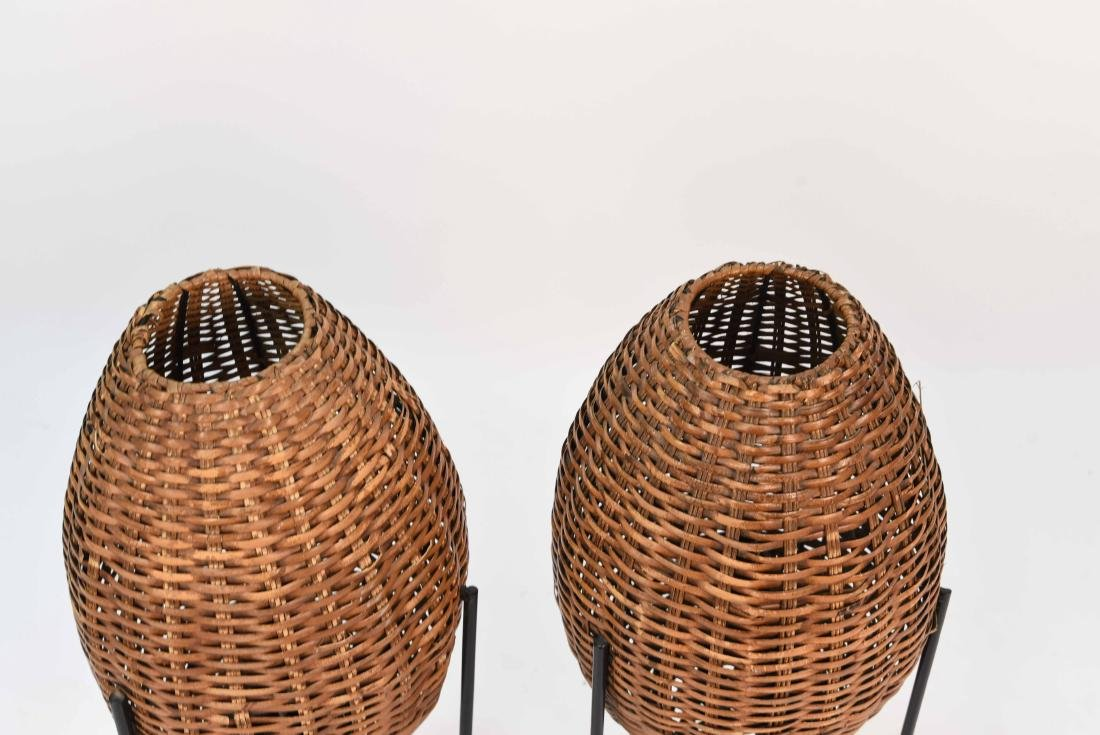 PAIR OF WICKER & HAIRPIN IRON LEG LAMPS - 2