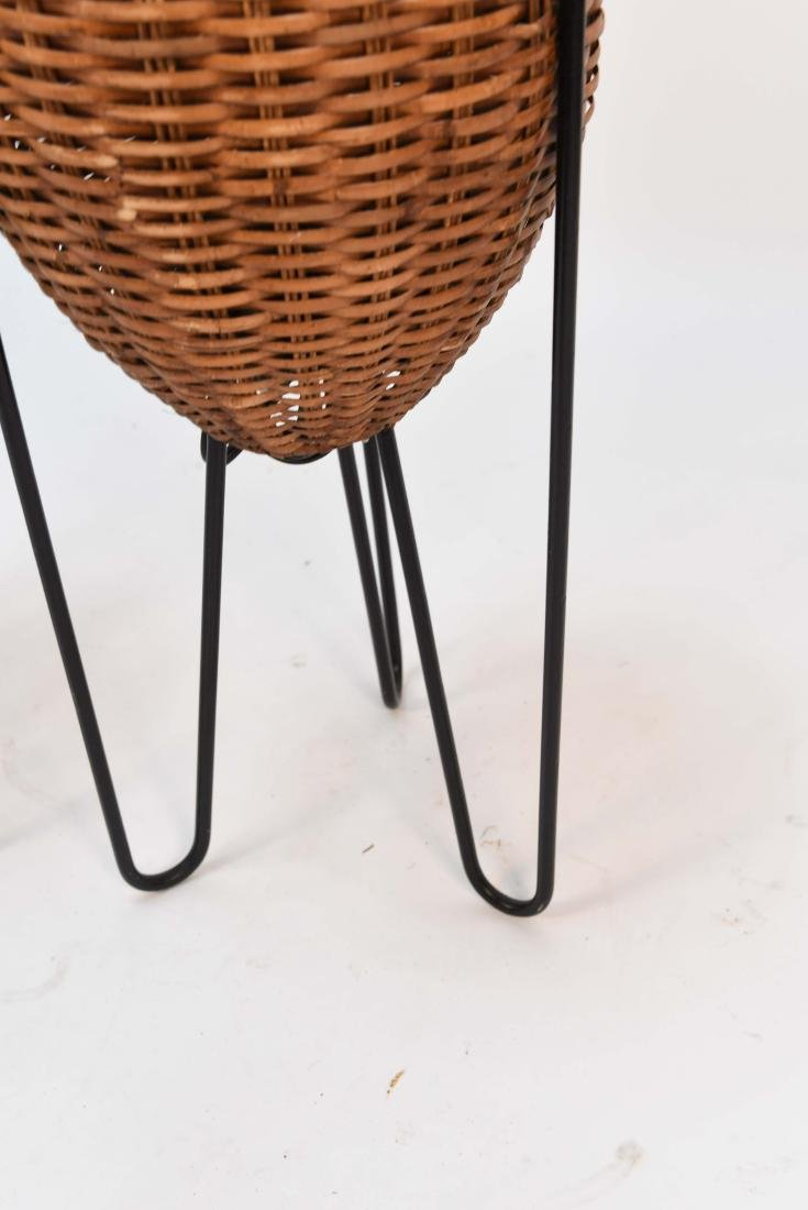 PAIR OF WICKER & HAIRPIN IRON LEG LAMPS - 5