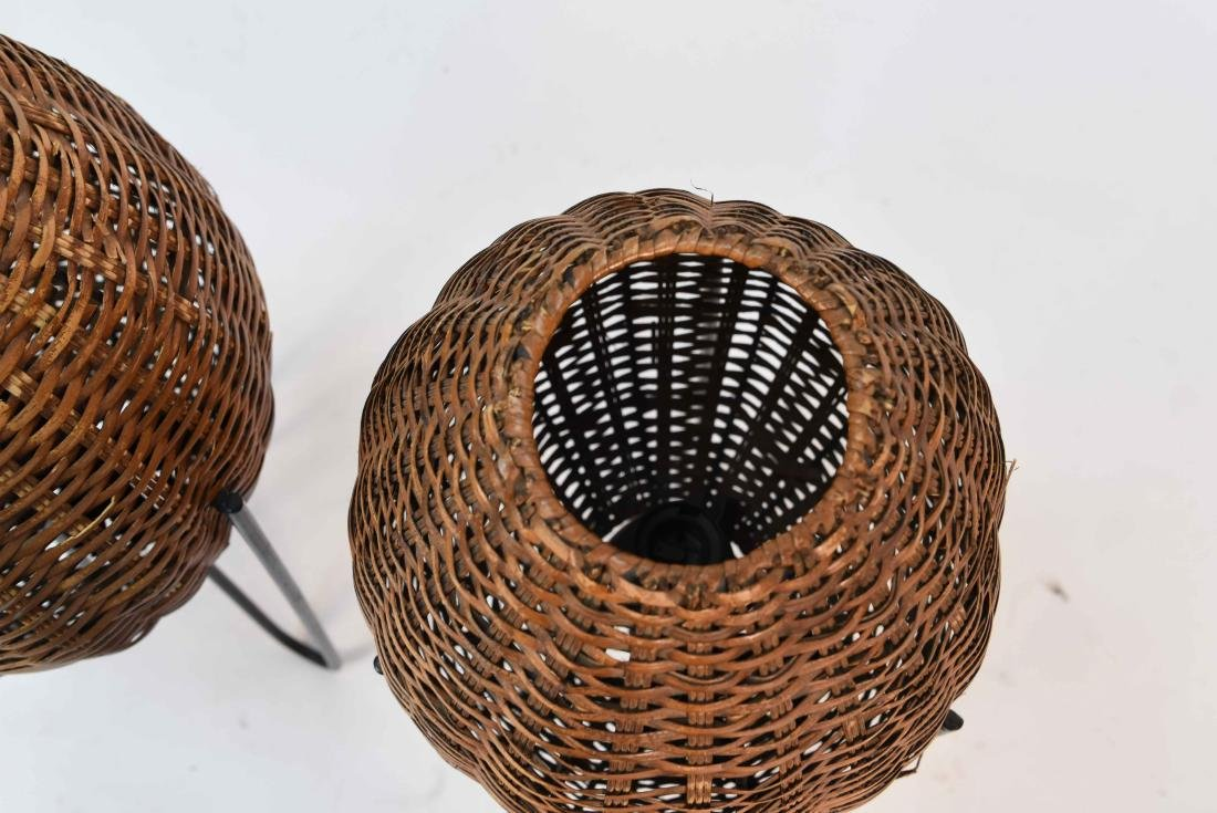 PAIR OF WICKER & HAIRPIN IRON LEG LAMPS - 6