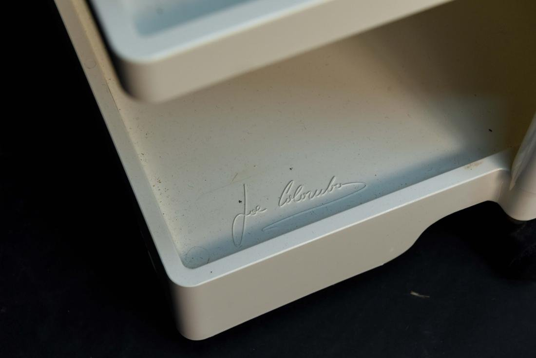 JOE COLOMBO WHITE ROLLING CART - 7