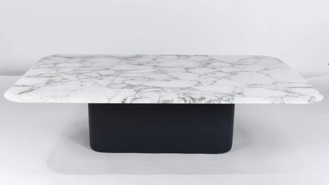 LEATHER & MARBLE TOP COFFEE TABLE