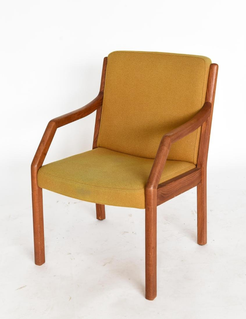 TEAK ARM CHAIR WITH ORIGINAL WOOL UPHOLSTERY