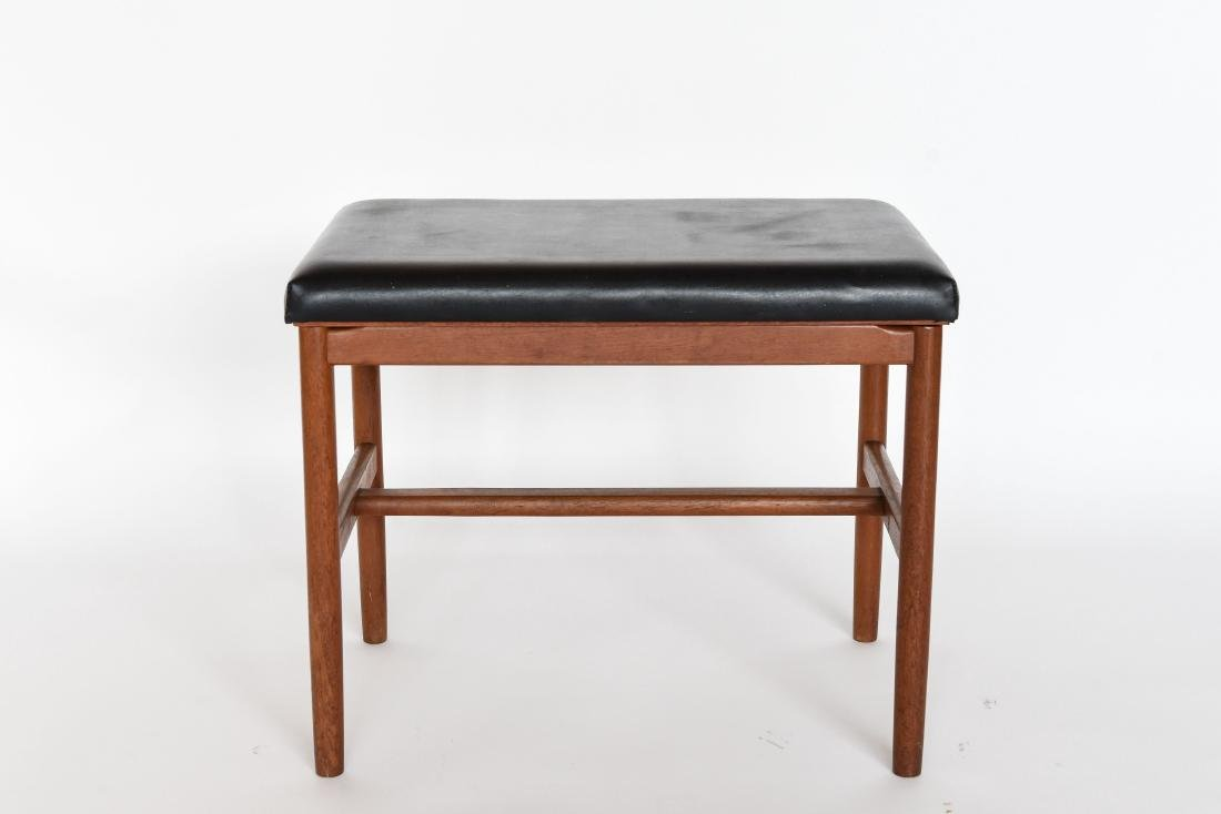 DANISH LEATHER AND TEAK BENCH OR OTTOMAN