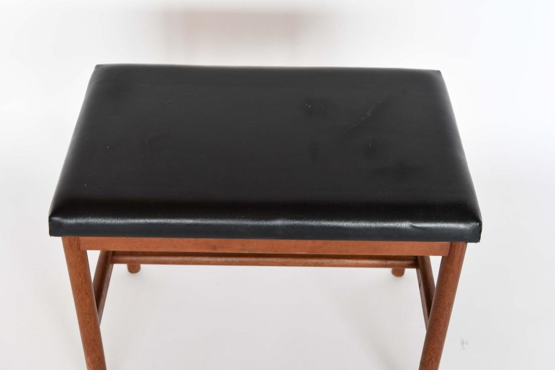 DANISH LEATHER AND TEAK BENCH OR OTTOMAN - 2