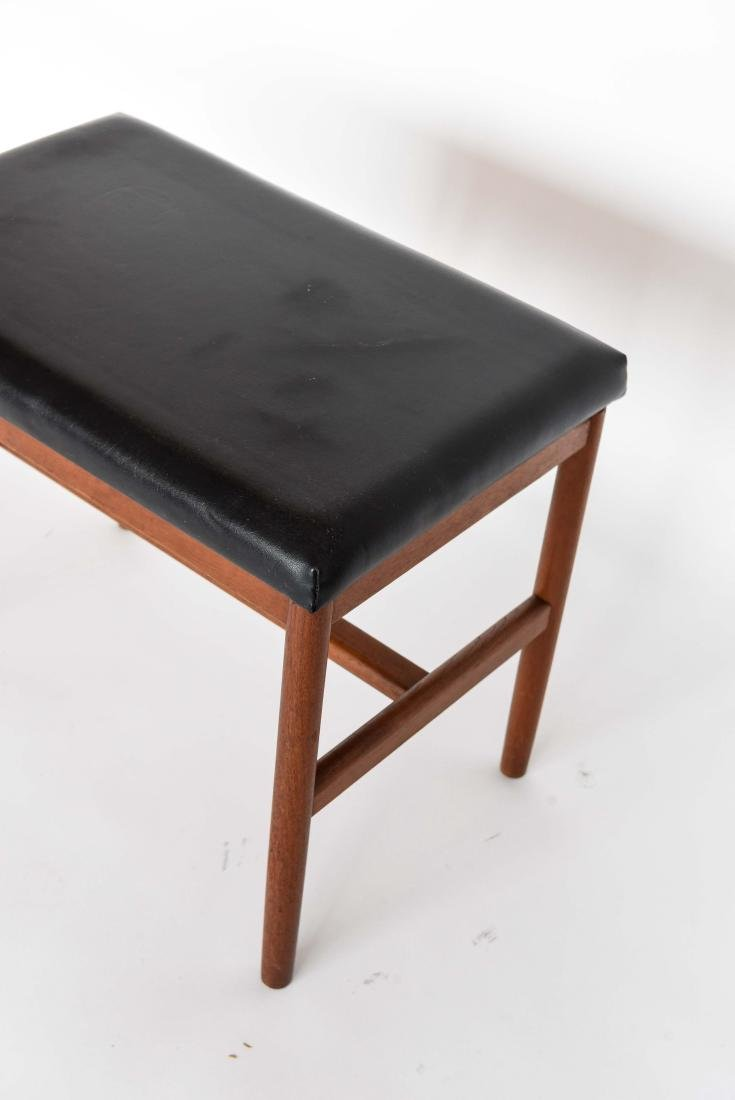 DANISH LEATHER AND TEAK BENCH OR OTTOMAN - 3