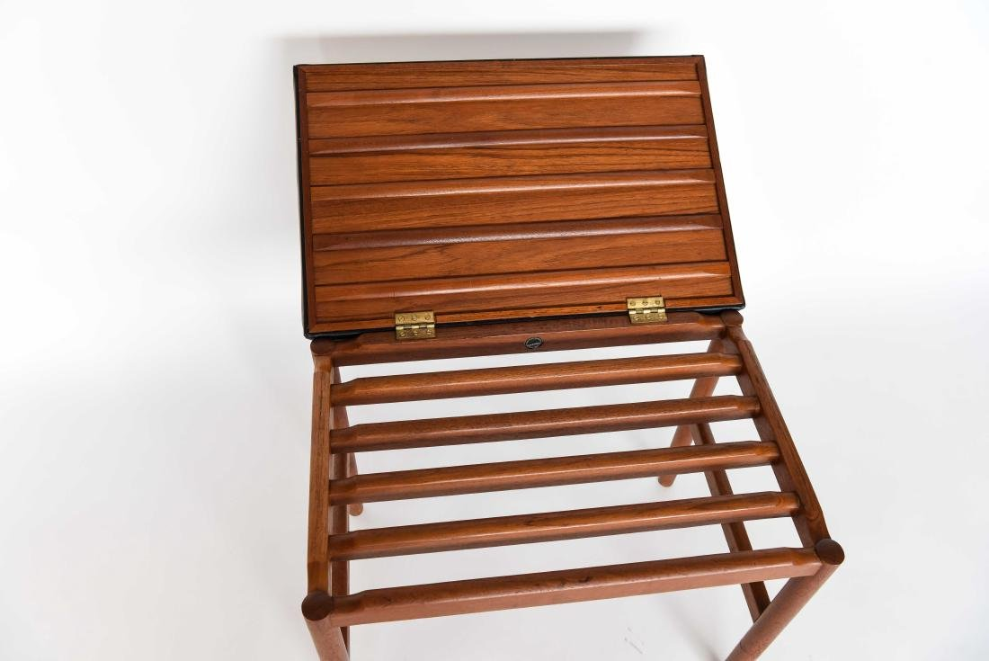 DANISH LEATHER AND TEAK BENCH OR OTTOMAN - 5