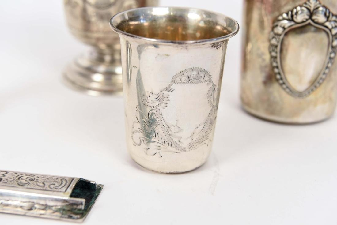 SILVER KIDDISH CUPS AND MEZUZAH JUDAICA GROUPING - 2