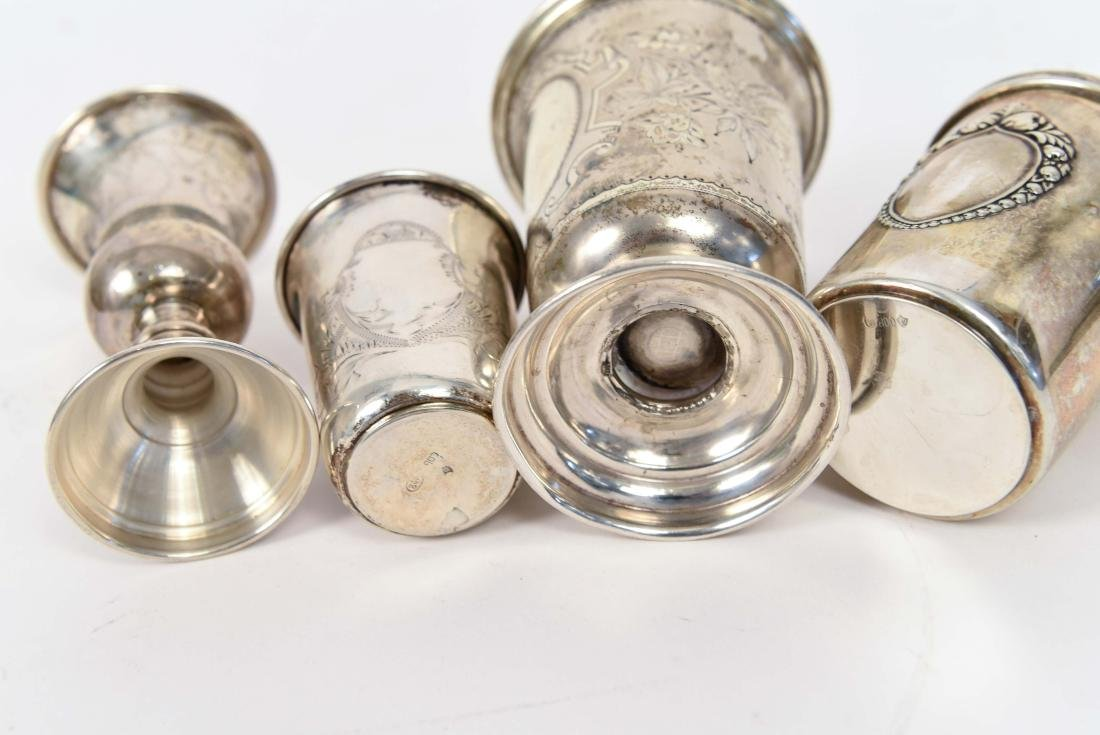 SILVER KIDDISH CUPS AND MEZUZAH JUDAICA GROUPING - 8
