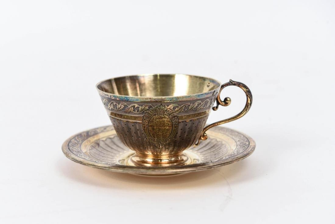 SILVER GOLD VERMEIL CUP AND SAUCER