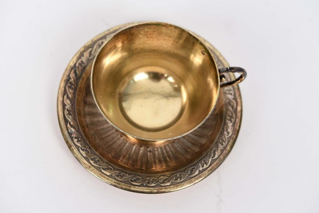 SILVER GOLD VERMEIL CUP AND SAUCER - 2