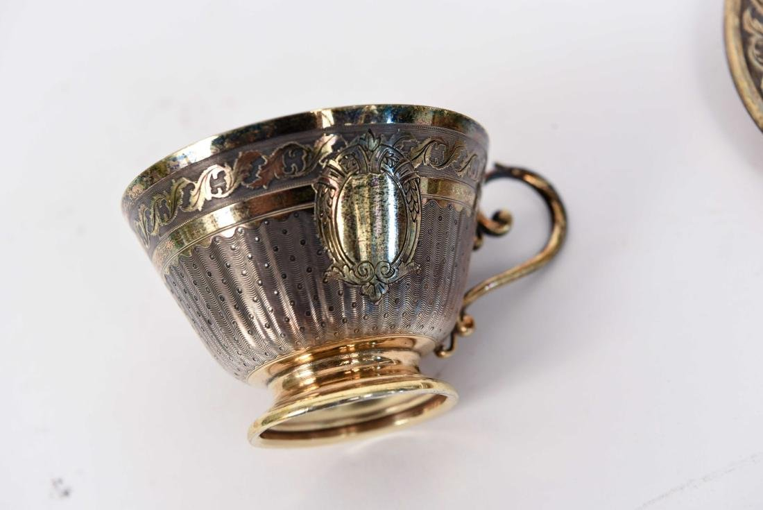 SILVER GOLD VERMEIL CUP AND SAUCER - 4