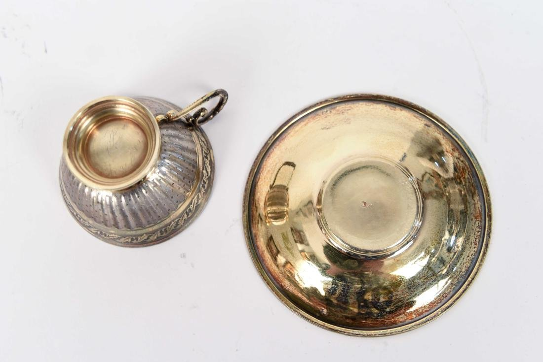 SILVER GOLD VERMEIL CUP AND SAUCER - 5