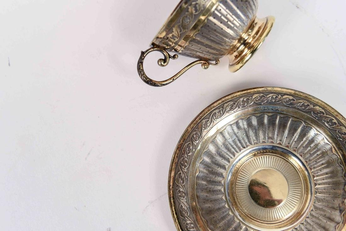 SILVER GOLD VERMEIL CUP AND SAUCER - 7