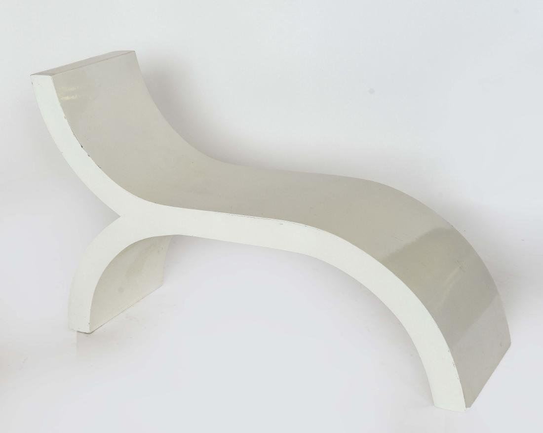 WHITE PAINTED WOODEN SCULPTURAL BENCH
