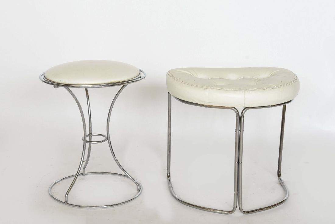 (2) MODERN CHROME AND VINYL VANITY STOOLS