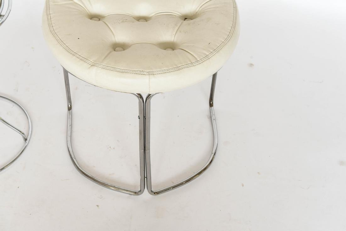 (2) MODERN CHROME AND VINYL VANITY STOOLS - 4