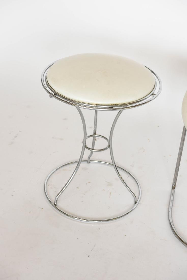 (2) MODERN CHROME AND VINYL VANITY STOOLS - 5