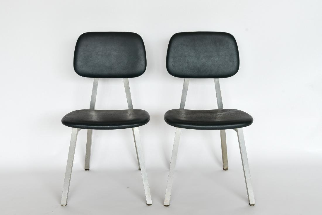PAIR OF SHAW WALKER ALUMINUM AND LEATHER CHAIRS