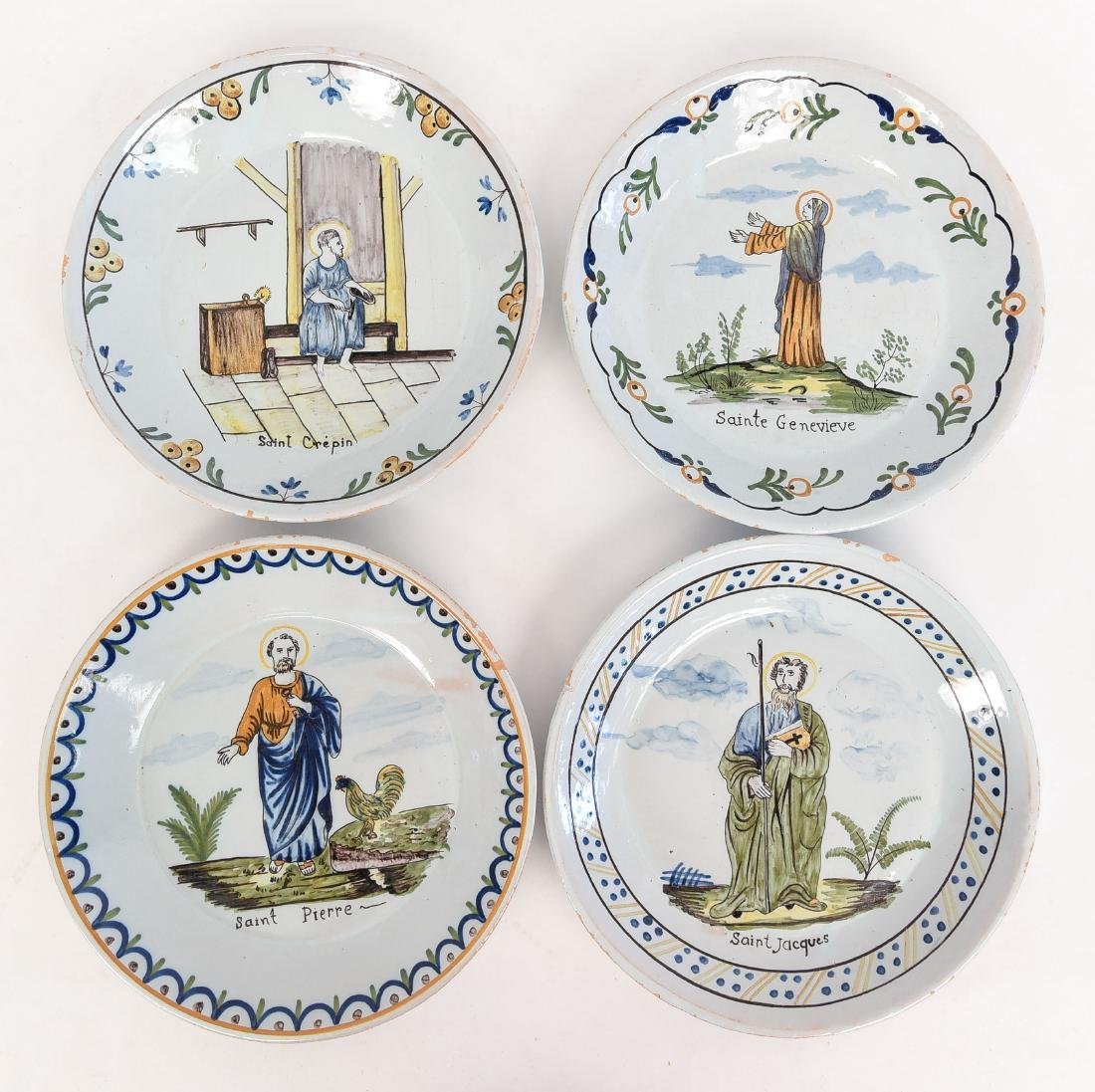 (4) FAIENCE PAINTED PORCELAIN PLATES W/ SAINTS