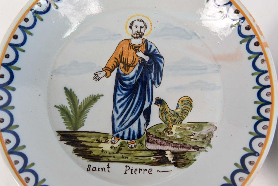 (4) FAIENCE PAINTED PORCELAIN PLATES W/ SAINTS - 2
