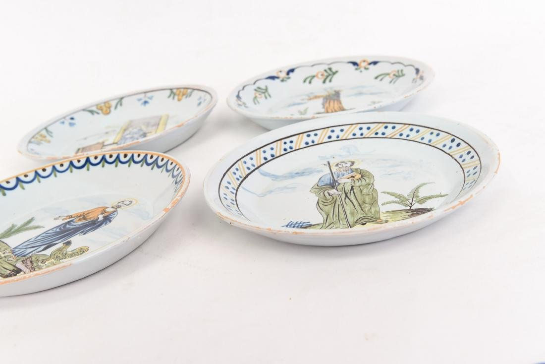 (4) FAIENCE PAINTED PORCELAIN PLATES W/ SAINTS - 8