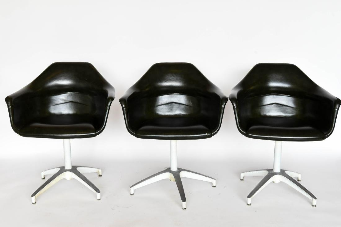 (3) GREEN HERMAN MILLER STYLE SHELL SWIVEL CHAIRS