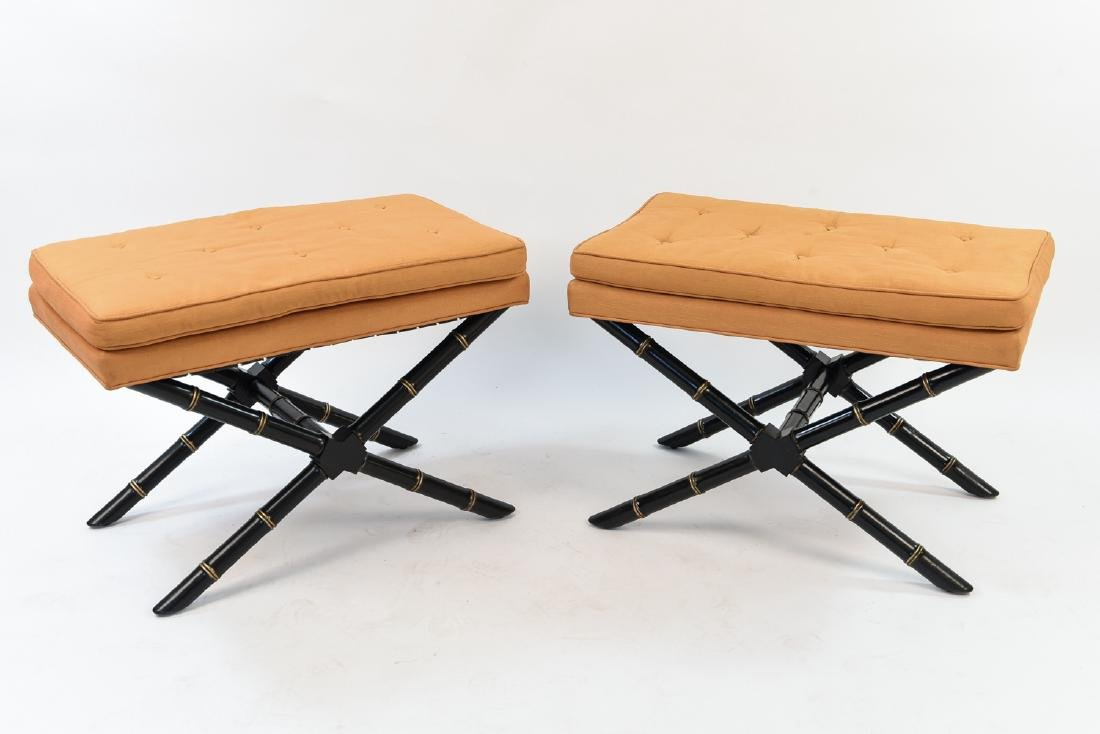 PAIR MID-CENTURY FAUX BAMBOO CARVED X-FORM STOOLS