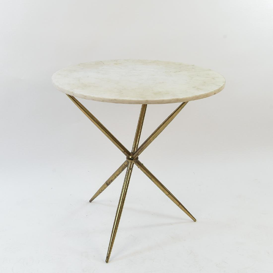 MANNER OF GIO PONTI MARBLE & BRASS TRIPOD TABLE