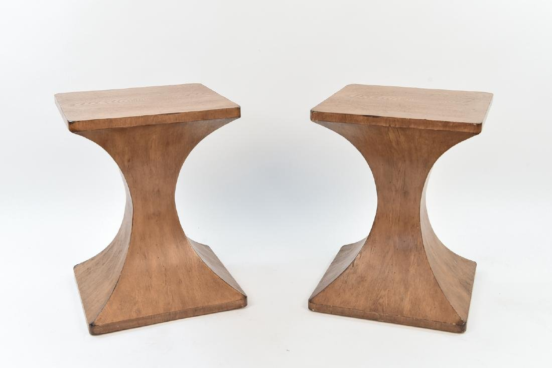 PAIR OF MID CENTURY HOURGLASS FORM WOOD TABLES