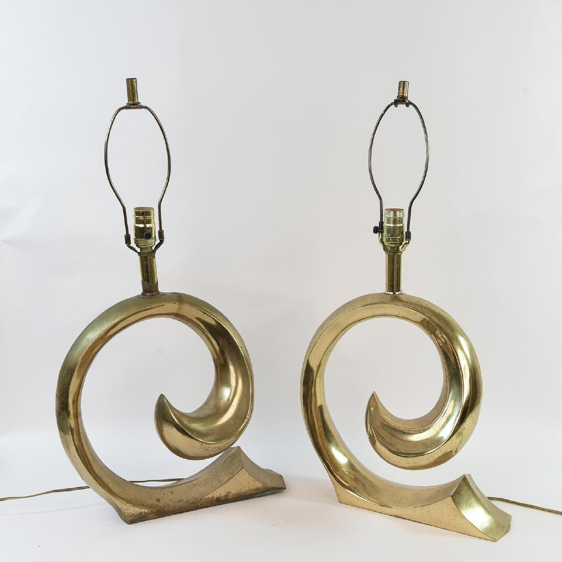 PIERRE CARDIN BRASS SWOOSH LAMPS