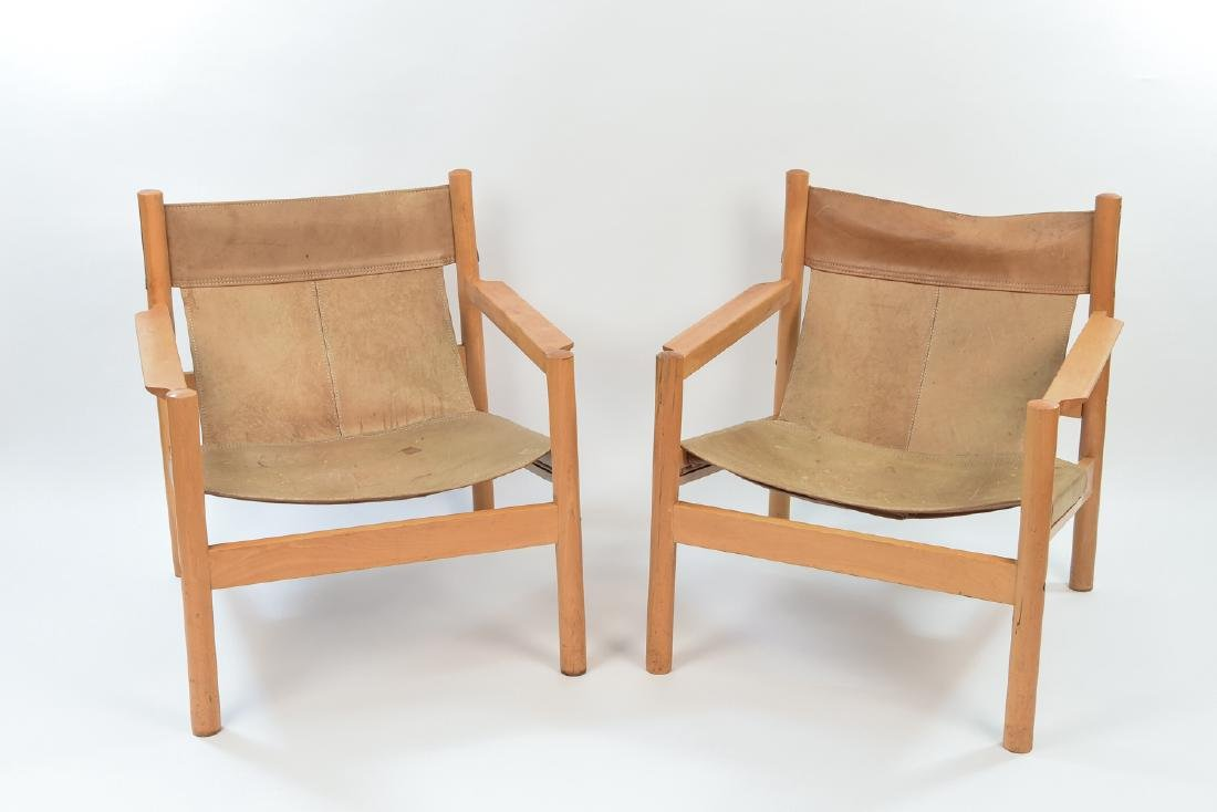 MICHEL ARNOULT LEATHER AND WOOD SLING CHAIRS
