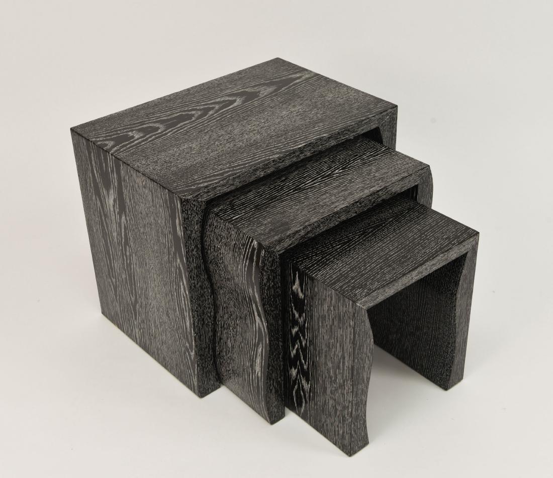 ART DECO CERUSED OAK NESTING TABLES