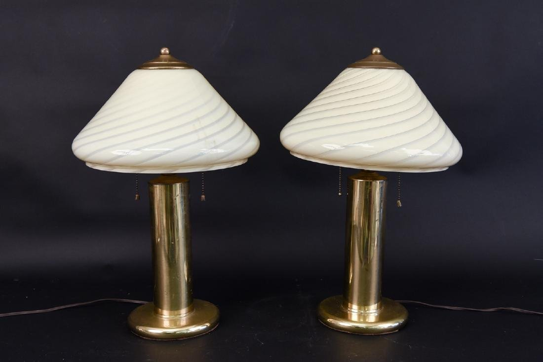 PAIR OF VETRI MURANO VENINI GLASS TABLE LAMPS