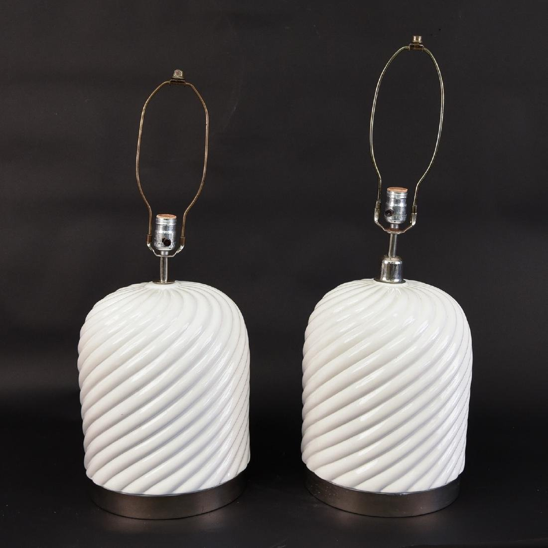 PAIR OF TOMMASO BARBI CERAMIC LAMPS