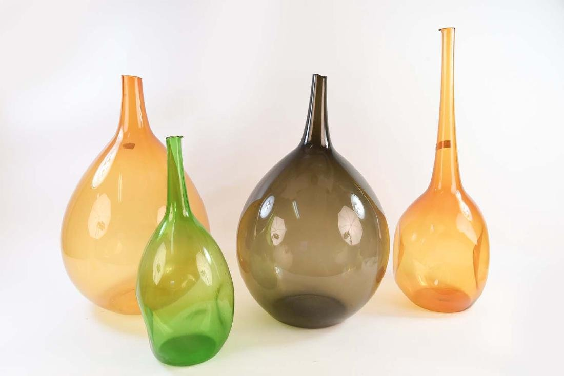 GROUPING OF LARGE BLOWN GLASS BOTTLE VASES