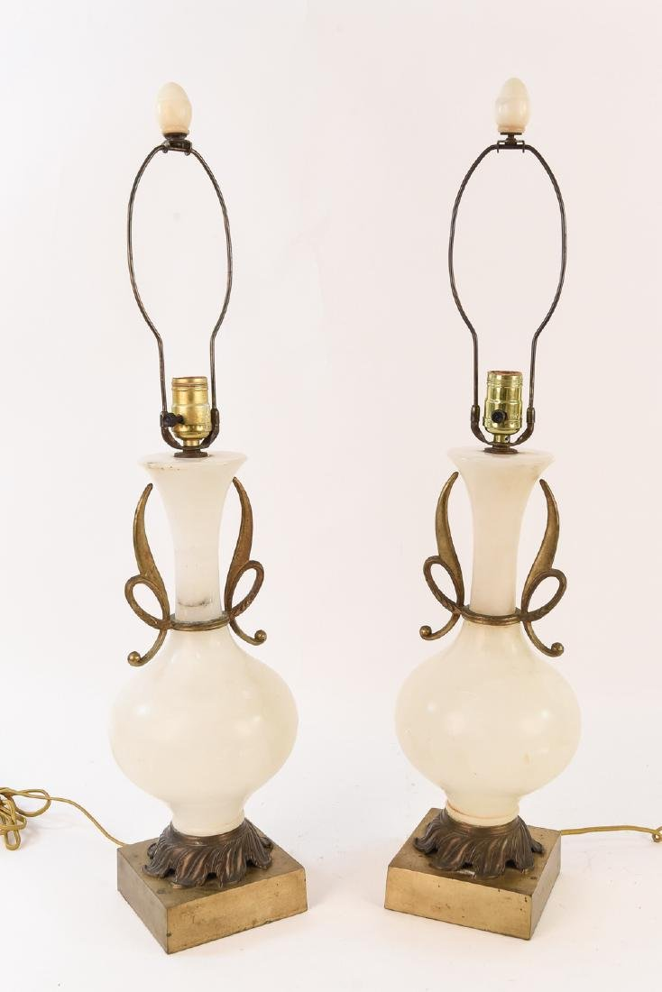 PAIR OF MARBLE URN FORM LAMPS W/ ORMOLU