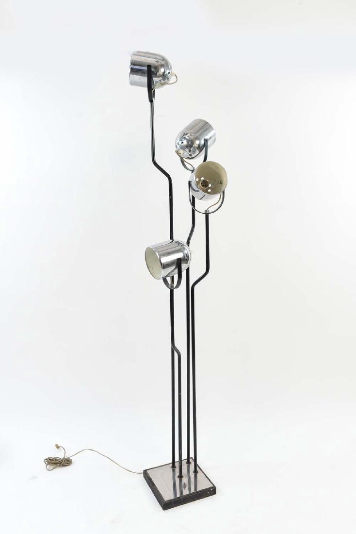REGGIANI 1960'S CHROME TRIPLE LIGHT FLOOR LAMP