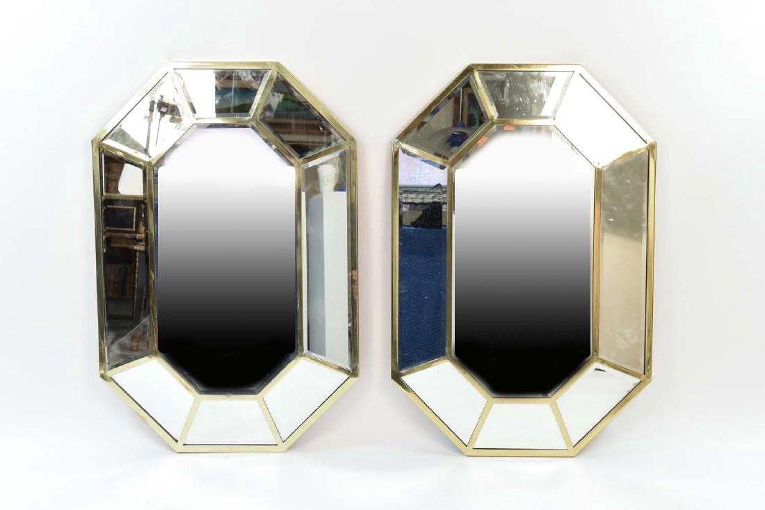 PAIR OF FACETED OCTAGONAL BRASS FRAMED MIRRORS